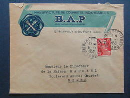 1950 - ENTETE ILLUSTRATION B.A.P. MANUFACTURE DE COUVERTS INOXYDABLES ST HIPPOLYTE DU FORT Sur LETTRE GANDON NIMES GARD - Poststempel (Briefe)