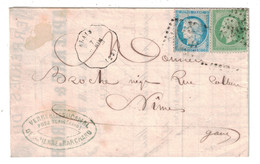 1871 - OBLITERATION CONVOYEUR STATION De ALAIS LIGNE De BESSEGES À NIMES GARD Sur LETTRE LAC CERES 60 + NAPOLEON 20 - Marcophilie (Lettres)