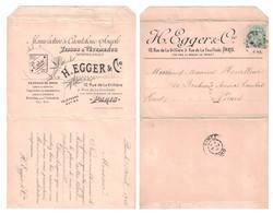 CARTE LETTRE Avec PUBLICITÉ ILLUSTRATION H. EGGER & Cie MANUFACTURE CAOUTCHOUC SOUPLE PARIS BLANC Pr NIMES 1902 - Marcophilie (Lettres)