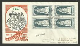 Bloc De 4 / Enveloppe FDC NOEL CHRISTMAS 1967 / Imprimé >>> USA - 1961-70