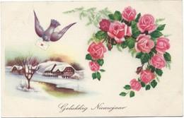0053 - GELUKKIG NIEUWJAAR - BIRD - ROSES - Feiern & Feste