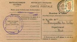 Carte De Ravitaillement, Mairie De AUBERCHICOURT (Nord) - Cachet à Date Du 3 Décembre 1946 - Marcophilie (Lettres)