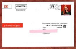 Dialogpost, Faltkarte, DB Fernverkehr Frankfurt, DV 05, 28 C, Datamatrix, Frankierwelle, Frau (83285) - BRD