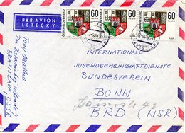 TCHECOSLOVAQUIE. N°1676 De 1968 Sur Enveloppe Ayant Circulé. Armoiries De Plzen. - Covers