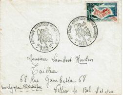 """1963 - PARIS - Oblitération Temporaire """"Xieme SALON ARTISTIQUE PALAIS BOURBON""""  - Enveloppe Un Peu """"vieillie"""" - Cachets Commémoratifs"""