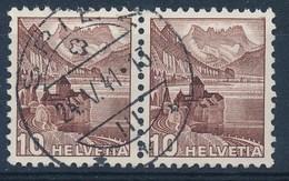 """HELVETIA - Mi Nr 363a Z (paar/paire) - Cachet """"SPIEZ"""" - Cote +60,00 € - (ref. 1828) - Gebruikt"""