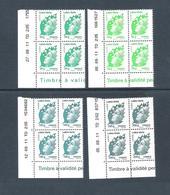 2011  - BLOC DE 4 TIMBRES NEUFS  N° 4593 A 4596 - MARIANNE DE BEAUJARD   LETTRE VERTE - Coins Datés