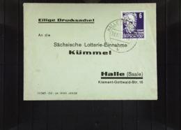 DDR: Ds-Brief Mit 6 Pf Köpfe II Auf Mini-Brief Aus Halle Vom 28.12.53 Sächs. Lotterie-Einnahme Kümmel Knr: 328 - [6] République Démocratique