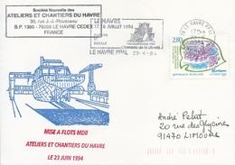 Lettre Mise à Flots Marion Dufresne II - OMEC SECAP Avec Flamme Le Havre Ppal - 23/06/1994 - Poolshepen & Ijsbrekers