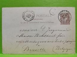Entier Postaux, Monaco 1893, Envoyé à Bruxelles - Postal Stationery