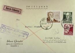 """DDR: EIL-Brief Mit 24 Pf """"Cranach"""" In MiF Mit 20 Und 60 Pf Köpfe Aus Berlin Vom 25.11.53  Knr: 384, Ua. - [6] República Democrática"""