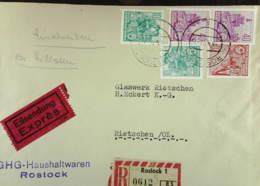 """DDR: E-Fern-Brief Mit 40 Pf """"5-Jahrplan"""" Gez.14 Im Senkr. Paar In MiF Mit Enge Zähnung Aus Rostock (0612) Knr: 583 , Ua. - [6] República Democrática"""