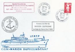 Lettre Essais à La Mer Du Marion Dufresne II Au Large Du Havre - Cachet Manuel Le Havre Ppal - 27/04/1995 - Poolshepen & Ijsbrekers