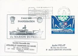 Lettre Inauguration Du Marion Dufresne - OMEC SECAP Le Havre Ppal Avec Flamme Pont De Normandie - 05/05/1995 - Poolshepen & Ijsbrekers