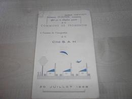 Ancien Menu 1958 à L'occasion De INAUGURATION DE LA CITE S.A.H. FROMENTIN - Menus