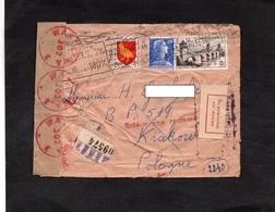LSC 1954 - Enveloppe De PARIS Pour KRAKOW - Divers Cachets Et Griffes  WARZAW 302 - PO ODPISANIU CTA ZWROT....... - 1944-.... República