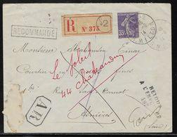 France - Marcophilie - Griffe Retour à L'envoyeur N° 187 Date Du 05/06/1914 Asniéres - Lettre Recommandée Avec AR - Marcofilia (sobres)