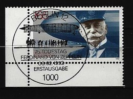 BUND Mi-Nr. 1597 Eckrandstück Links Unten 75. Todestag Ferdinand Graf Von Zeppelin Gestempelt (2) - [7] République Fédérale