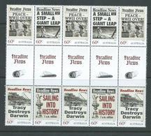 Australia 2013 Famous News Headlines Gutter Block Of 10 MNH - Mint Stamps