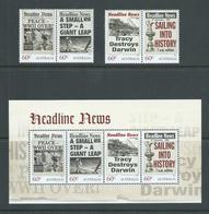 Australia 2013 Famous News Headlines Set Of 2 Pairs + Miniature Sheet MNH - Mint Stamps