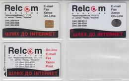 UKRAINE 1997 RELCOM WAY TO INTERNET 3 DIFFERENT CARDS - Ucraina