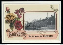 FLEURUS   .....  2 Cartes Souvenirs Gare ... Train  Creations Modernes Série Limitée - Fleurus
