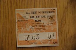 Rationnement - OCRPI Billet Matiere Bois Serie BT 0,10 - Bons & Nécessité