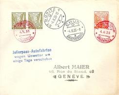 """Sonderbrief  """"Winteralpenpost Julierpass""""  St.Moritz - Chur - Genève        1935 - Svizzera"""