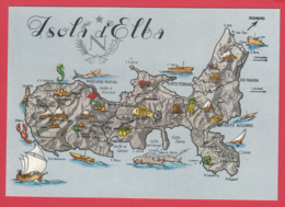 CP- ISOLA D'ELBA - Ile D'Elbe -Carte Géographique  * TOP ** 2 SCANS - Italie