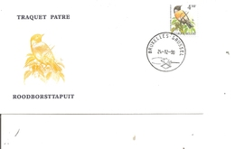Oiseaux - Buzin - Traquet Patre ( FDC De Belgique De 1990 à Voir) - Oiseaux