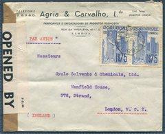 1940 Portugal Agria & Carvalho, Lisbon Airmail Censor Cover - Cycle Solvents Ltd, 376 Strand, London England. - 1910-... République