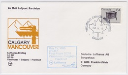 Canada - Germany 1983, Lufthansa First Flight, Calgary To Frankfurt With DC10 - First Flight Covers