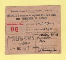 Jussey - Haute Saone - Recepisse D Un Colis Postal Pour Prisonnier De Guerre - 6 Aout 1941 - Marcophilie (Lettres)