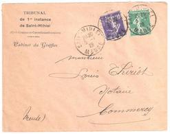 St MIHIEL Meuse Lettre Entête Tribunal 1° Instance Greffier 10 C Semeuse Vert 40 C Violet Yv  236 159 Ob 5 1 1928 - Storia Postale