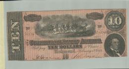 Billet De Banque  Etats Conf. D'Amérique -  10 Dollars - Lettre A - 1864    DEC 2019 Gerar - Confederate (1861-1864)