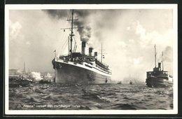 AK Hamburg, Passagierschiff Arcona Verlässt Den Hafen Unter Volldampf - Paquebots