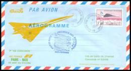 1249 Concorde 1984 Paris Nice Aerogramme Repiquage Premier Vol First Flight Airmail Cover Luftpost - Concorde