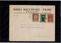 LCTN59/LE/DIV1 - FIUME LETTRE FUME X TUNIS 9/3/1924 - Occupation 1ère Guerre Mondiale