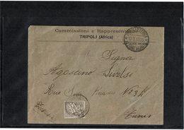 LCTN59/LE/DIV1 - ITALIE TRIPOLI COMMISSIONI E RAPPRESENTANZE TRIPOLI / TUNIS 12/3/1913 TAXEE ARRIVEE - Tripolitania