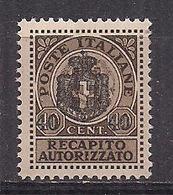 REGNO D'ITALIA LUOGOTENENZA 1945 RECAPITO AUTORIZZATO SASS. 5 MLH VF - 5. 1944-46 Lieutenance & Umberto II