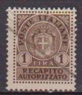 REGNO D'ITALIA LUOGOTENENZA 1946 RECAPITO AUTORIZZATO SENZA FASCI SASS. 7 USATO VF - 5. 1944-46 Lieutenance & Umberto II