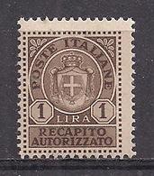 REGNO D'ITALIA LUOGOTENENZA 1946 RECAPITO AUTORIZZATO SENZA FASCI SASS. 7 MLH VF - 5. 1944-46 Lieutenance & Umberto II