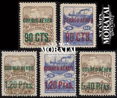 1937 España  Ed L-NE 12/16 Numero 6 Y 7 Habilitado Asturias Leon *MH Buen Estado, Nuevo Con Charnela  (Edifil) - Asturias & Leon