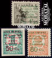 1937 España  Ed C-8/10  Sellos Republica Habilitados Canarias *MH Buen Estado, Nuevo Con Charnela  (Edifil) - Asturië & Leon