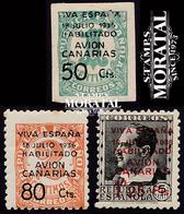 1937 España  Ed C-4/6  Sellos Republica Habilitados Canarias *MH Buen Estado, Nuevo Con Charnela  (Edifil) - Asturië & Leon