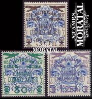 1937 España  Ed C-31/33  Sellos Beneficos Habilitados Canarias **MNH Perfecto Estado, Nuevo Sin Charnela  (Edifil) - Asturies & Leon