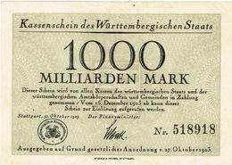 Allemagne Germania Germany Billet De Banque Banknote Monnaie Money Wurttembergischen 1000 Milliarden Mark 1925 BE - [ 3] 1918-1933 : République De Weimar