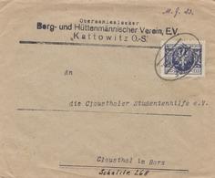 Bergbau: Hüttenmännischer Verein Kattowitz OS-Polen, Clausthal  1923, Bahnpost - Sonstige - Europa