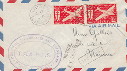 ILE DE TAHITI PAPEETE 31/10/47 LETTRE AVION PREMIERE LIAISON AERIENNE FRANCAISE PAPEETE NOUMEA T.R.A.P.A.S. - Posta Aerea