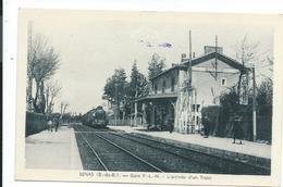 Senas 13 Gare PLM Arrivée D'un Train,locomotive à Vapeur - Gares - Avec Trains